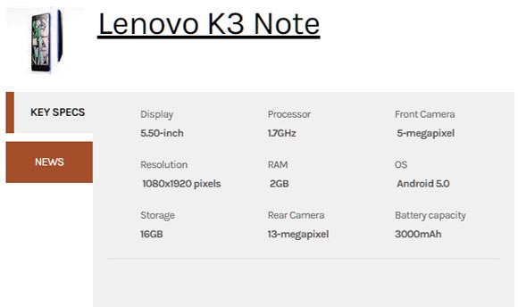 lenovo-k3-note-specifications
